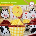 Granja: wrappers y toppers para cupcakes