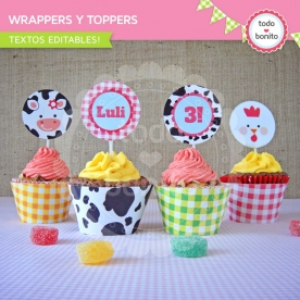 Granja nenas: wrappers y toppers para cupcakes