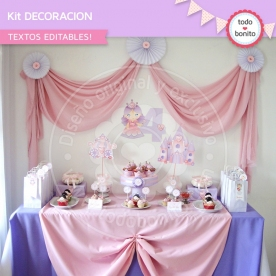 Princesa: kit imprimible decoración de fiesta