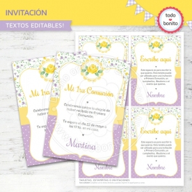 Shabby Chic violeta y amarillo: invitación imprimible y digital