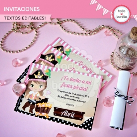 Princesa pirata: invitación imprimible y digital