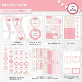 Shabby Chic Rosa: kit imprimible decoración de fiesta