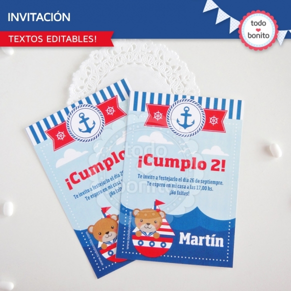 Osito Marinero: invitación imprimible y digital