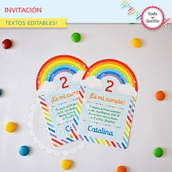 Arcoiris: invitación imprimible y digital