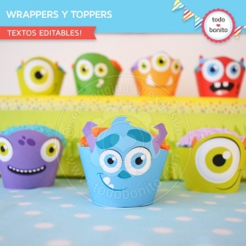 Monstruitos: wrappers y toppers para cupcakes