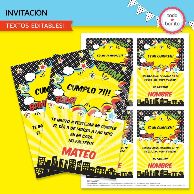 Superhéroes Invitación Imprimible Y Digital Todo Bonito