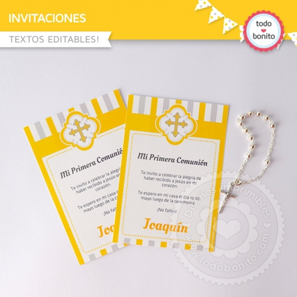 Cruz gris y amarillo: invitación imprimible y digital