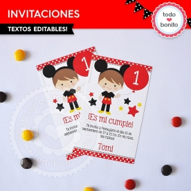 Orejas Mickey Rojo: invitación imprimible y digital