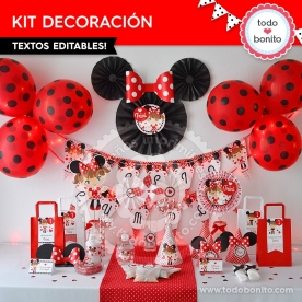 Orejas Minnie Rojo: kit imprimible decoración de fiesta