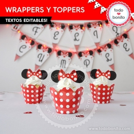 Silueta Minnie Rojo Lunares: wrappers y toppers para cupcakes