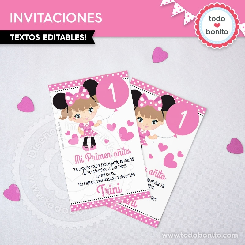 Orejas Minnie Rosa Invitación Imprimible Y Digital Todo