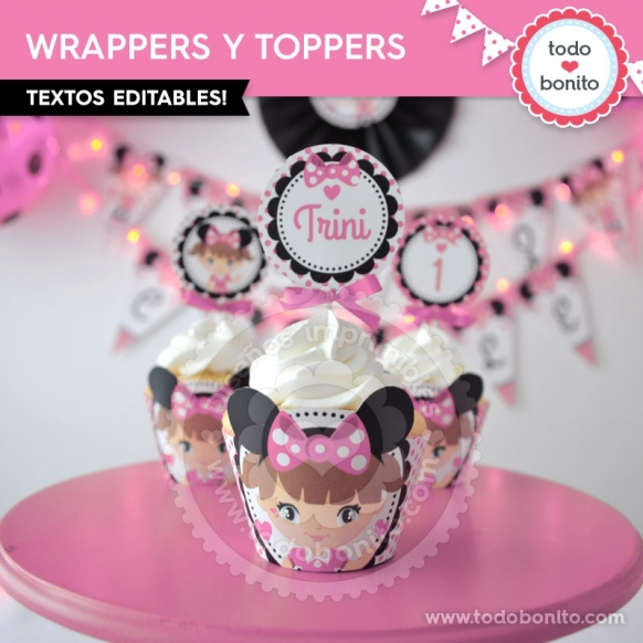 Orejas Minnie Rosa: wrappers y toppers para cupcakes