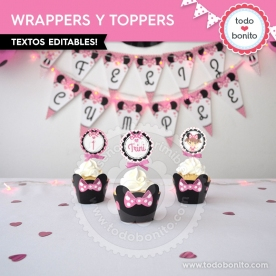 Silueta Minnie Rosa: wrappers y toppers para cupcakes