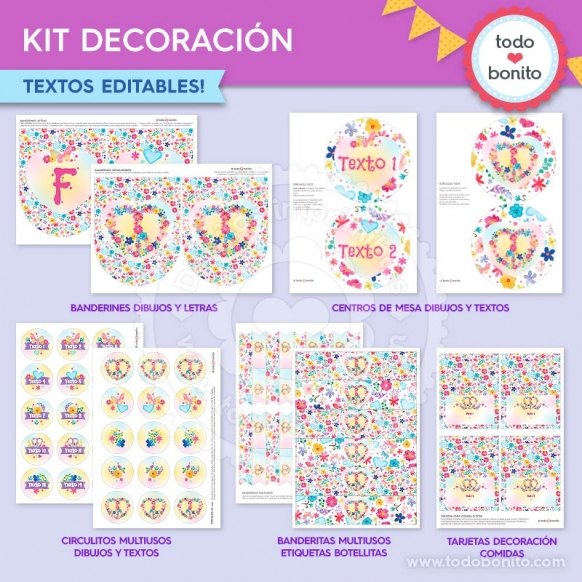 Amor y Paz: kit imprimible decoración de fiesta