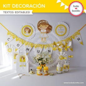 Comunión margaritas amarillo: kit imprimible decoración de fiesta