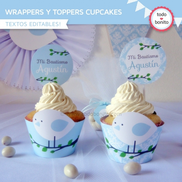 Pajarito celeste: wrappers y toppers