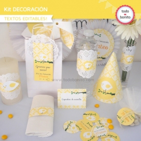 Pajarito bebé amarillo: Kit decoración