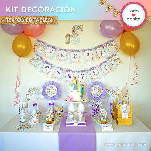 Unicornio: kit imprimible decoración de fiesta