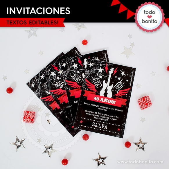 Rock Invitación Imprimible Y Digital Todo Bonito