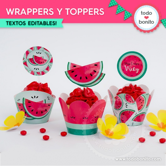Sandías: wrappers y toppers