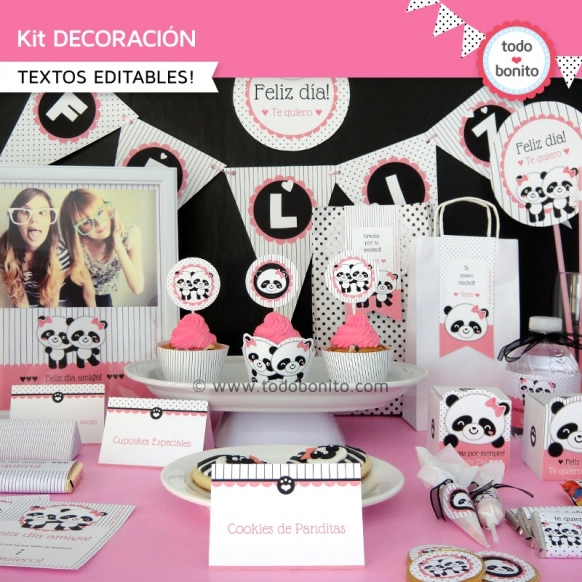 Pandita: kit imprimible decoración de fiesta
