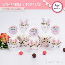 Conejita: wrappers y toppers