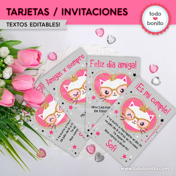 Gatita Princesa Cool Invitación Imprimible Y Digital Todo