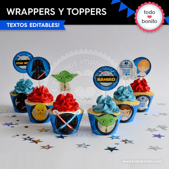 Star Wars: wrappers y toppers para cupcakes
