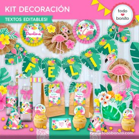 Flamencos y ananá: kit imprimible decoración de fiesta