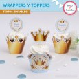 Coronita celeste: wrappers y toppers para cupcakes