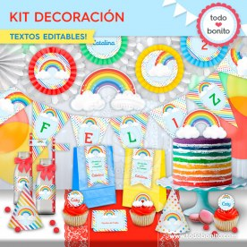 Arcoiris: kit imprimible decoración de fiesta