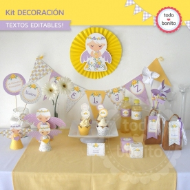 Shabby Chic violeta y amarillo: Kit decoración