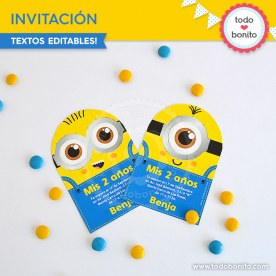 Minions: invitación imprimible y digital