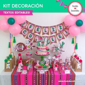Llamitas: kit imprimible decoración de fiesta