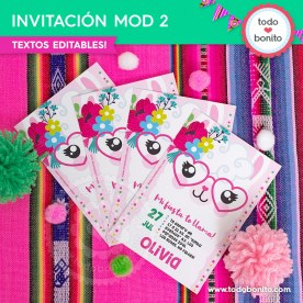 Llamitas: invitación MOD 2 imprimible y digital