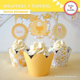 Shabby Chic amarillo: wrappers y toppers