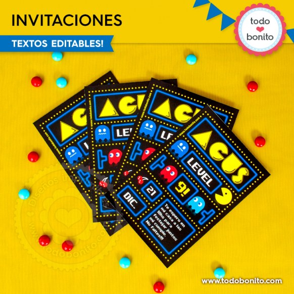 Pacman: invitación imprimible y digital
