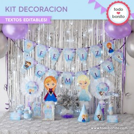Frozen: kit imprimible decoración de fiesta