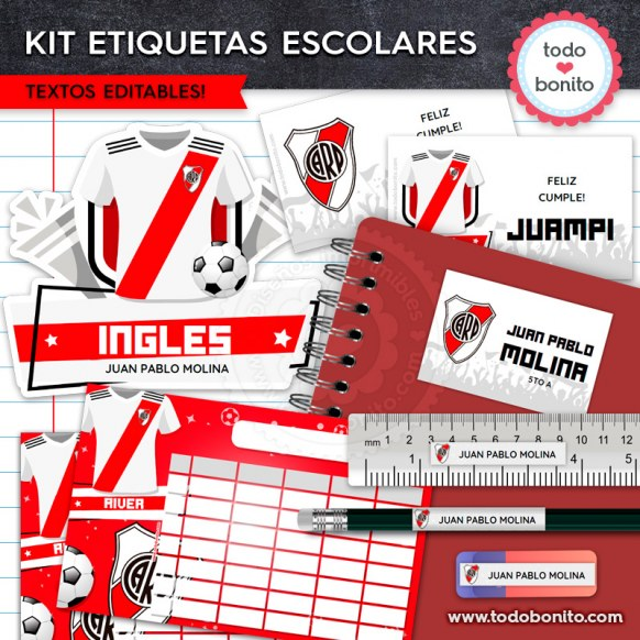 Fútbol River: Kit imprimible etiquetas escolares