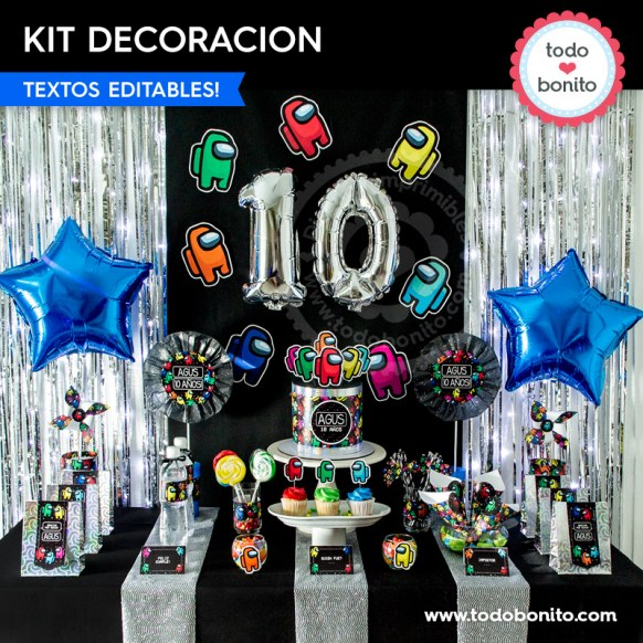 Among Us: kit imprimible decoración de fiesta