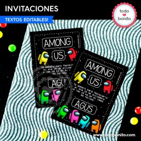 Among Us: invitación imprimible y digital