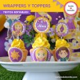 Rapunzel: wrappers y toppers para cupcakes