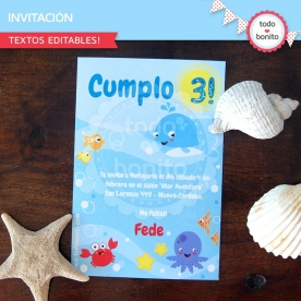 Animalitos de Mar: invitación para imprimir
