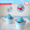 Animalitos de Mar: wrappers y toppers para cupcakes