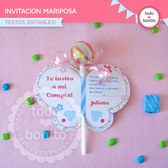 Flores y mariposas: invitación imprimible y digital